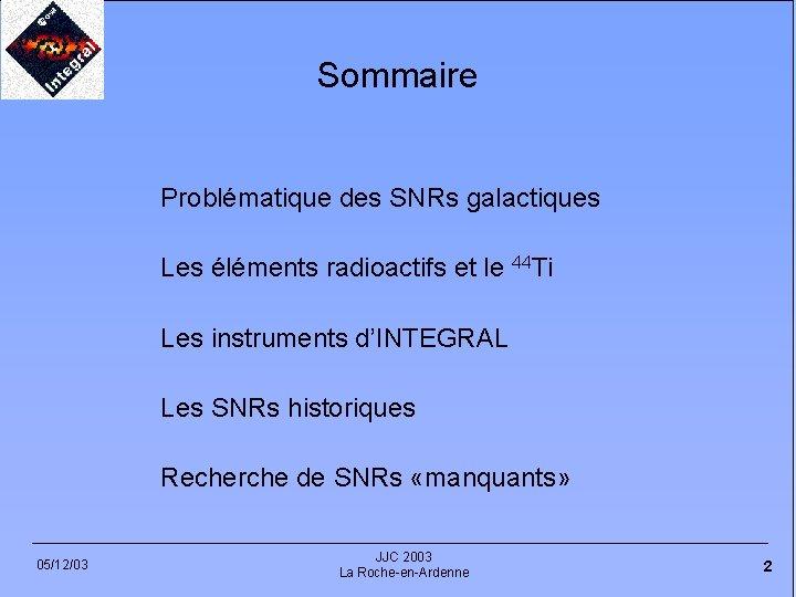Sommaire Problématique des SNRs galactiques Les éléments radioactifs et le 44 Ti Les instruments