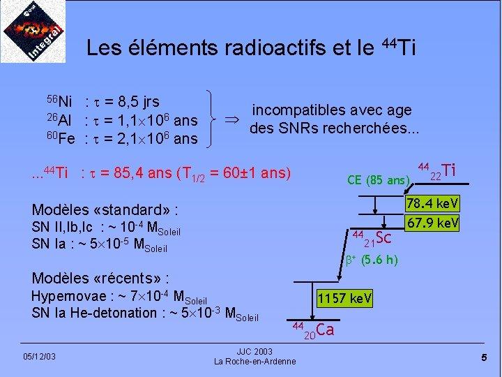 Les éléments radioactifs et le 44 Ti : = 8, 5 jrs 26 Al