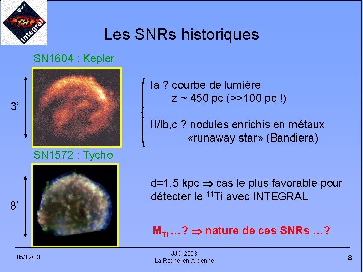 Les SNRs historiques SN 1604 : Kepler Ia ? courbe de lumière z ~