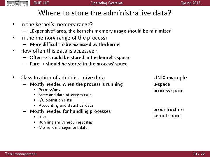 BME MIT Operating Systems Spring 2017. Where to store the administrative data? • In