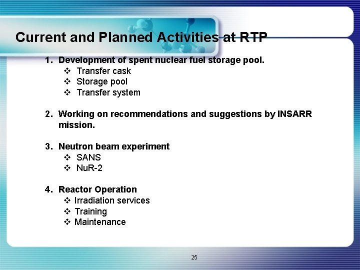 Current and Planned Activities at RTP 1. Development of spent nuclear fuel storage pool.
