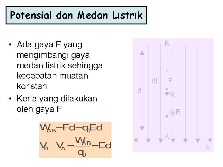 Potensial dan Medan Listrik • Ada gaya F yang mengimbangi gaya medan listrik sehingga