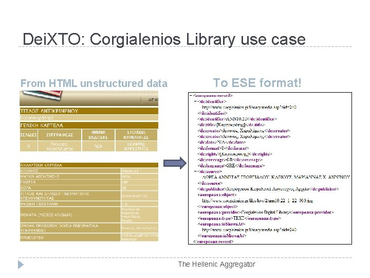 Dei. XTO: Corgialenios Library use case From HTML unstructured data To ESE format! The