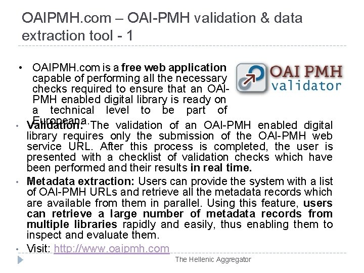 OAIPMH. com – OAI-PMH validation & data extraction tool - 1 • OAIPMH. com