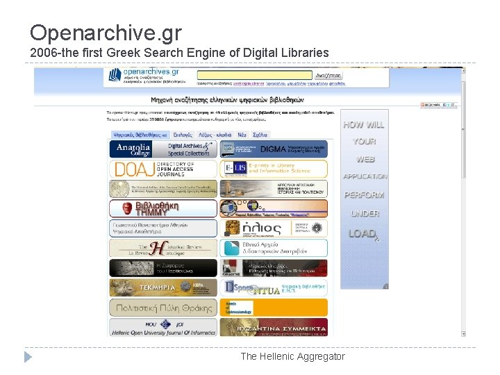 Openarchive. gr 2006 -the first Greek Search Engine of Digital Libraries The Hellenic Aggregator