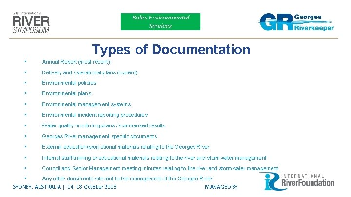 Types of Documentation • Annual Report (most recent) • Delivery and Operational plans (current)