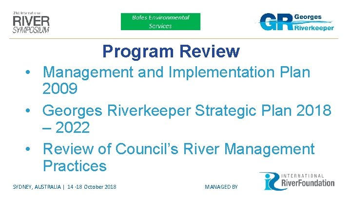 Program Review • Management and Implementation Plan 2009 • Georges Riverkeeper Strategic Plan 2018