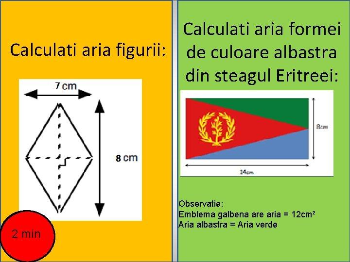 Calculati aria formei Calculati aria figurii: de culoare albastra din steagul Eritreei: d 2