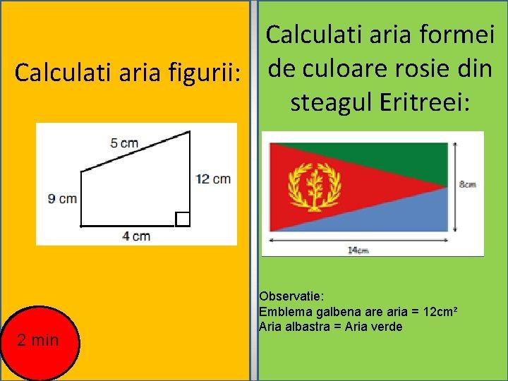 Calculati aria formei Calculati aria figurii: de culoare rosie din steagul Eritreei: 2 min