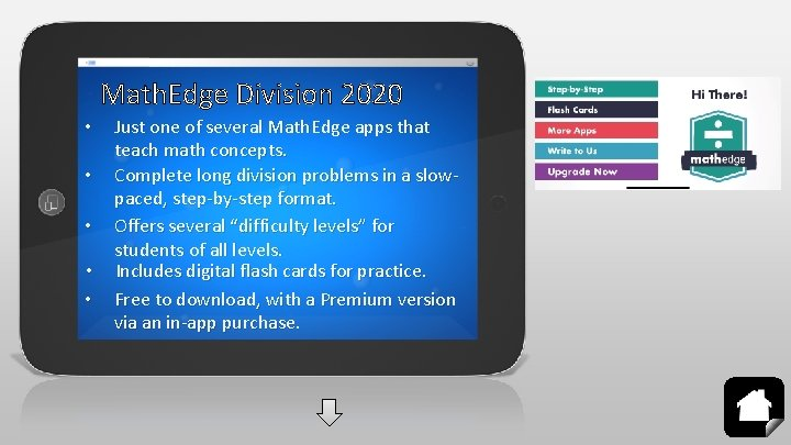 Math. Edge Division 2020 • • • Just one of several Math. Edge apps