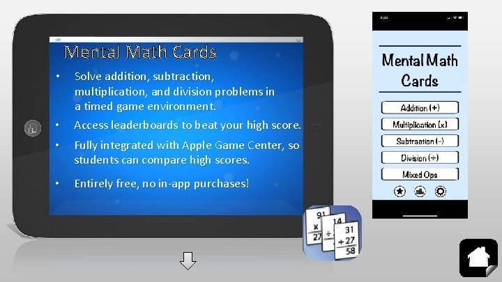 Mental Math Cards • • Solve addition, subtraction, multiplication, and division problems in a