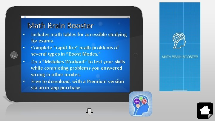 Math Brain Booster • • Includes math tables for accessible studying for exams. Complete