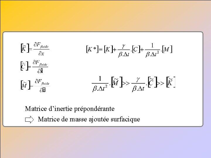 Matrice d'inertie prépondérante Matrice de masse ajoutée surfacique