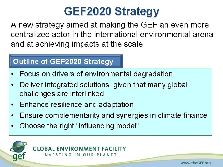 GEF 2020 Strategy A new strategy aimed at making the GEF an even more