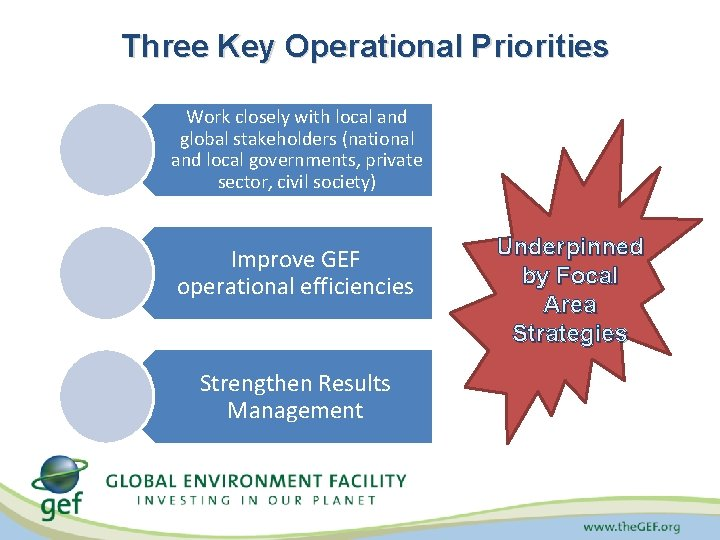 Three Key Operational Priorities Work closely with local and global stakeholders (national and local