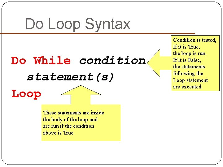Do Loop Syntax Do While condition statement(s) Loop These statements are inside the body