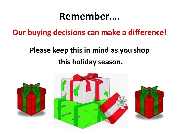 Remember…. Our buying decisions can make a difference! Please keep this in mind as