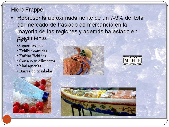 Hielo Frappe • Representa aproximadamente de un 7 -9% del total del mercado de