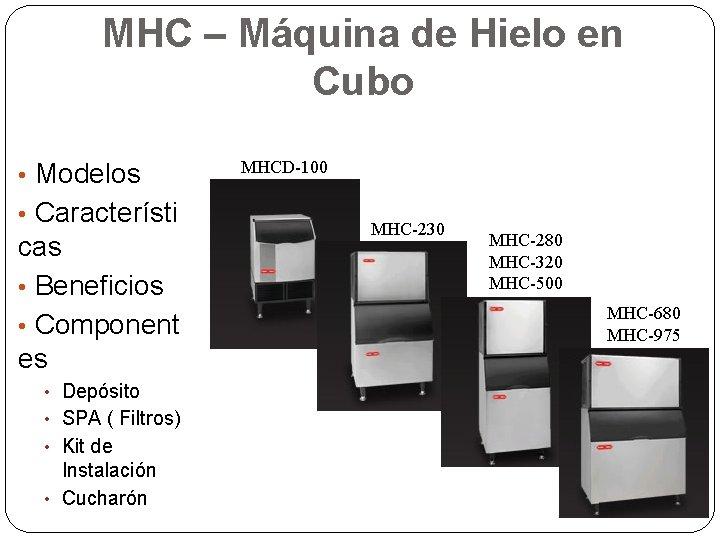 MHC – Máquina de Hielo en Cubo • Modelos • Característi cas • Beneficios