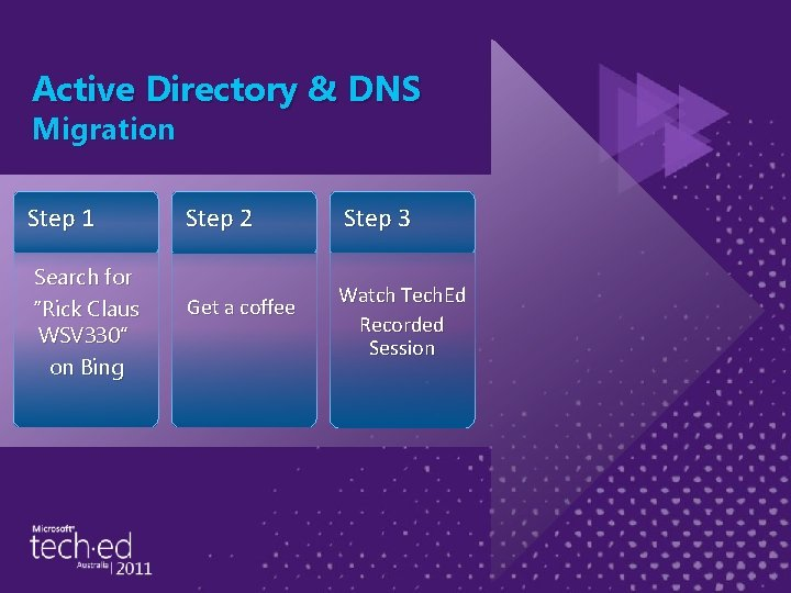 """Active Directory & DNS Migration Step 1 Search for """"Rick Claus WSV 330"""" on"""