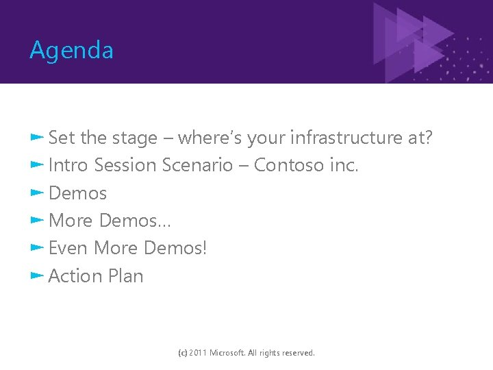 Agenda ► Set the stage – where's your infrastructure at? ► Intro Session Scenario