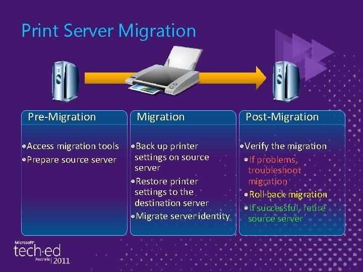 Print Server Migration Pre-Migration Post-Migration Access migration tools Prepare source server Back up printer