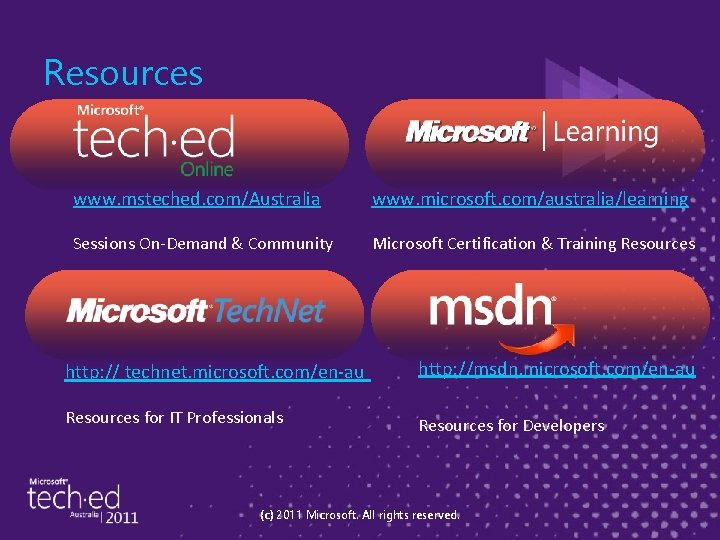 Resources www. msteched. com/Australia www. microsoft. com/australia/learning Sessions On-Demand & Community Microsoft Certification &