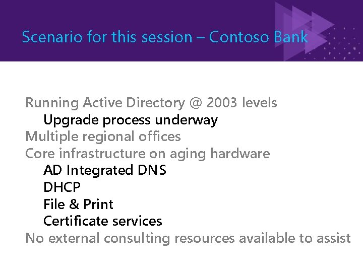 Scenario for this session – Contoso Bank Running Active Directory @ 2003 levels Upgrade