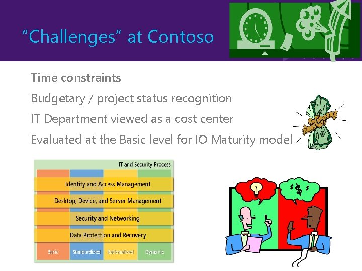 """""""Challenges"""" at Contoso Time constraints Budgetary / project status recognition IT Department viewed as"""