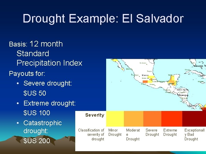 Drought Example: El Salvador Basis: 12 month Standard Precipitation Index Payouts for: • Severe