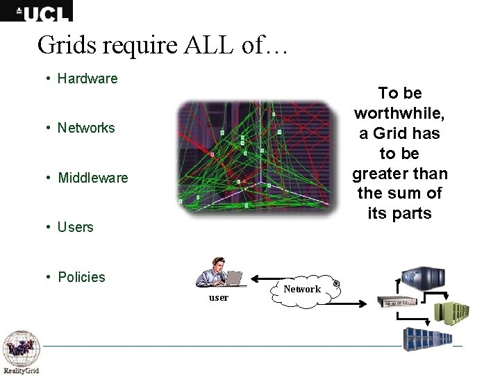 Grids require ALL of… • Hardware To be worthwhile, a Grid has to be