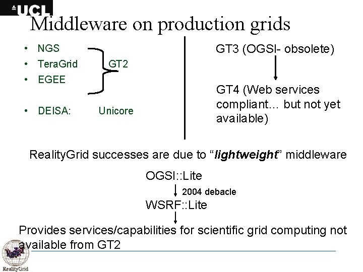 Middleware on production grids GT 3 (OGSI- obsolete) • NGS • Tera. Grid GT