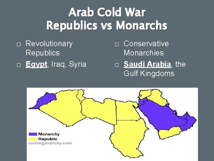 Arab Cold War Republics vs Monarchs � � Revolutionary Republics Egypt, Iraq, Syria �