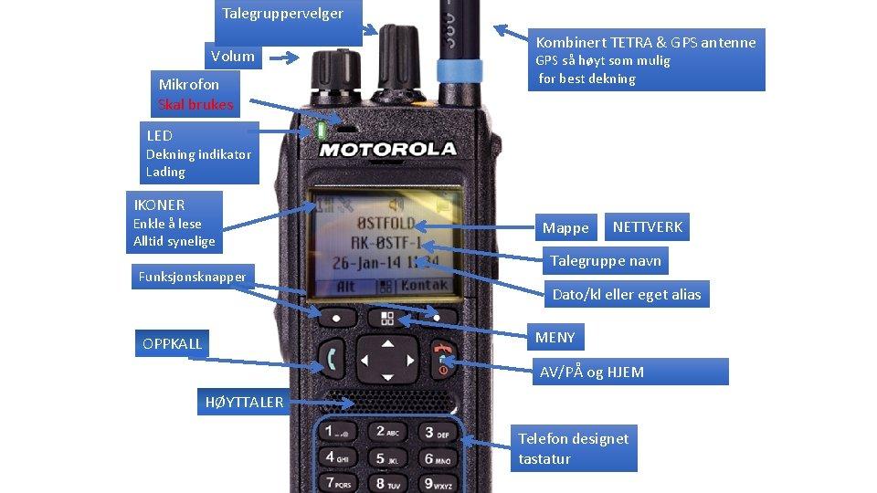 Talegruppervelger Volum Mikrofon Skal brukes Kombinert TETRA & GPS antenne GPS så høyt som