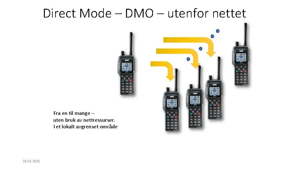 Direct Mode – DMO – utenfor nettet Fra en til mange – uten bruk