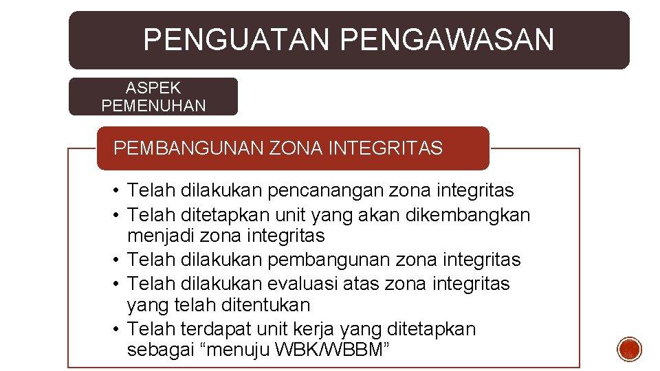 PENGUATAN PENGAWASAN ASPEK PEMENUHAN PEMBANGUNAN ZONA INTEGRITAS • Telah dilakukan pencanangan zona integritas •