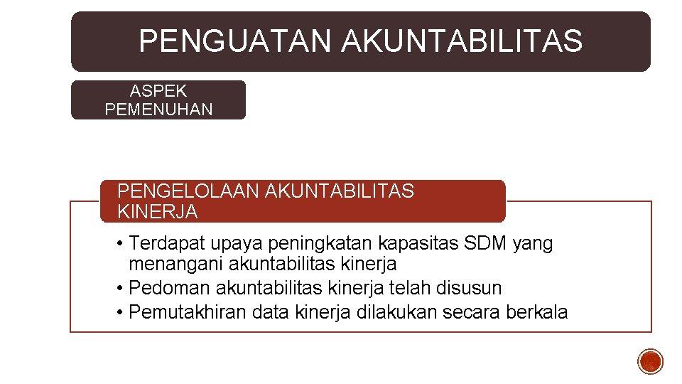 PENGUATAN AKUNTABILITAS ASPEK PEMENUHAN PENGELOLAAN AKUNTABILITAS KINERJA • Terdapat upaya peningkatan kapasitas SDM yang