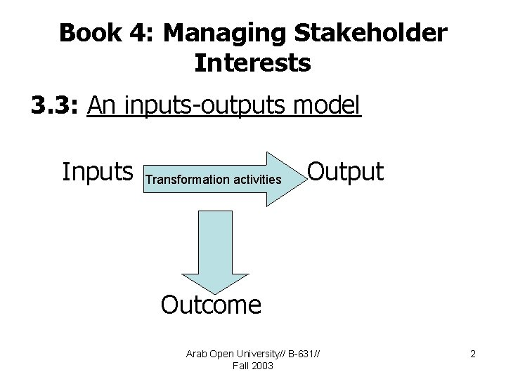 Book 4: Managing Stakeholder Interests 3. 3: An inputs-outputs model Inputs Transformation activities Output