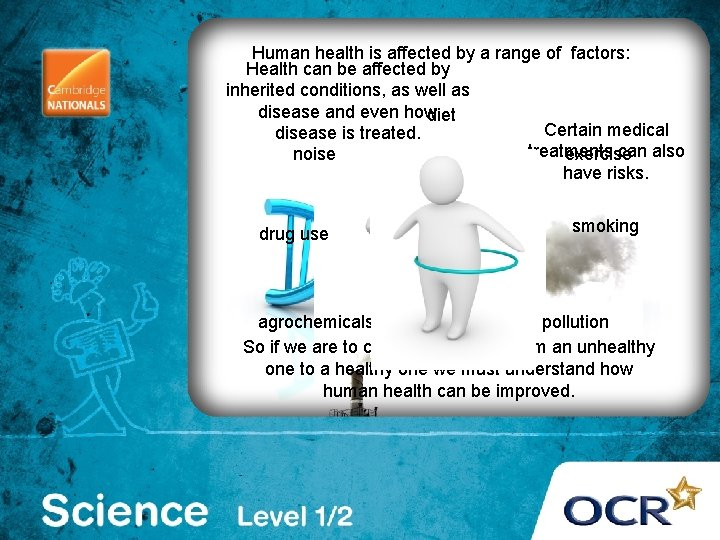 . Human health is affected by a range of factors: Health can be affected