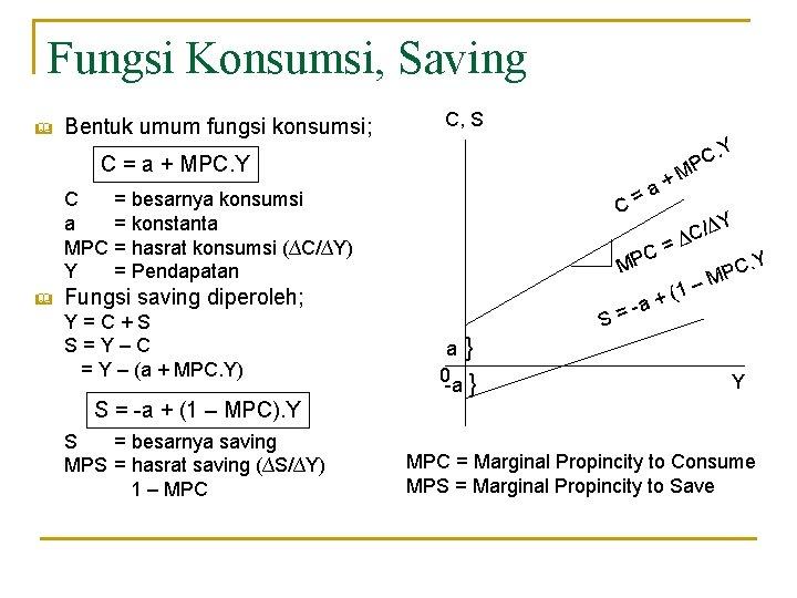 Fungsi Konsumsi, Saving & Bentuk umum fungsi konsumsi; C, S. Y C = a