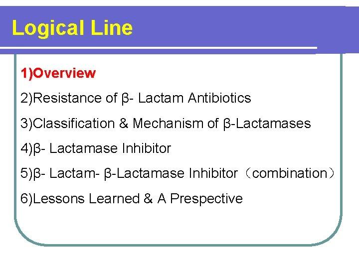 Logical Line 1)Overview 2)Resistance of β- Lactam Antibiotics 3)Classification & Mechanism of β-Lactamases 4)β-