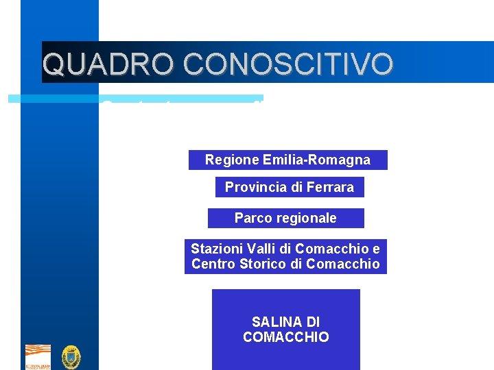 QUADRO CONOSCITIVO Contesto geografico e socio-economico (maglia larga) Regione Emilia-Romagna Provincia di Ferrara Parco