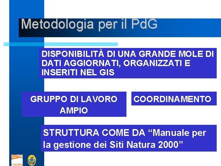 Metodologia per il Pd. G DISPONIBILITÀ DI UNA GRANDE MOLE DI DATI AGGIORNATI, ORGANIZZATI