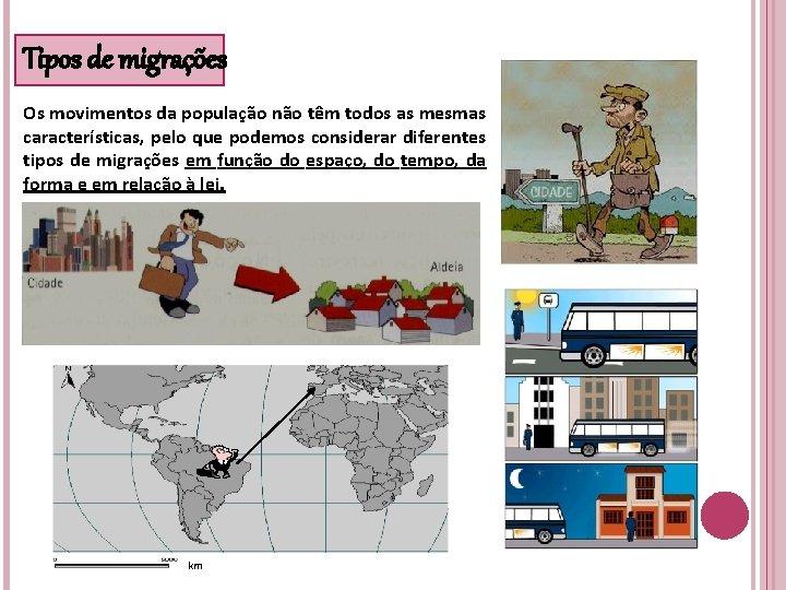 Tipos de migrações Os movimentos da população não têm todos as mesmas características, pelo