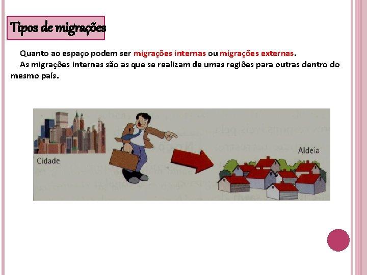 Tipos de migrações Quanto ao espaço podem ser migrações internas ou migrações externas. As