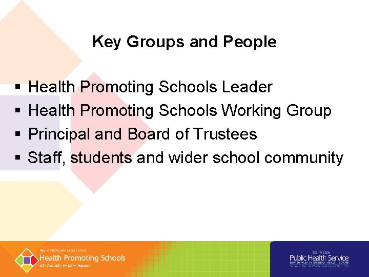 Key Groups and People § § Health Promoting Schools Leader Health Promoting Schools Working