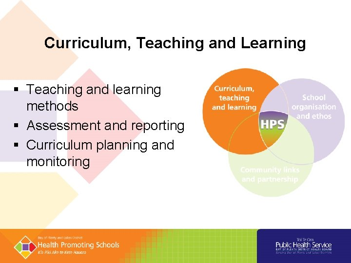 Curriculum, Teaching and Learning § Teaching and learning methods § Assessment and reporting §