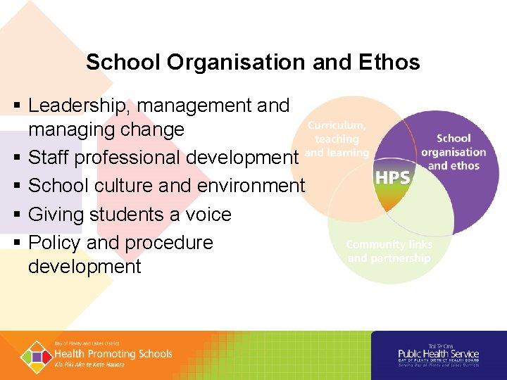 School Organisation and Ethos § Leadership, management and managing change § Staff professional development