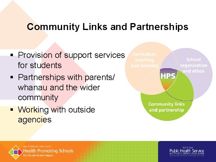 Community Links and Partnerships § Provision of support services for students § Partnerships with