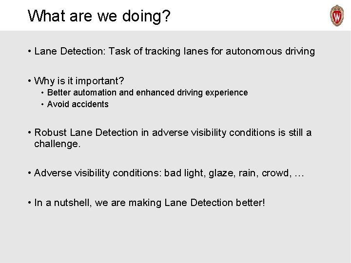 What are we doing? • Lane Detection: Task of tracking lanes for autonomous driving